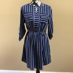 navy blue striped mid length dress